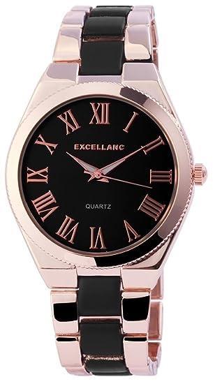 Reloj mujer Negro Rosè Oro números romanos Analógico de Cuarzo Metal Reloj de pulsera