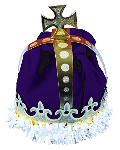 UHC Kings Paper Crown Headpiece Medievel Theme Halloween Costume Accessory ,Royal Blue/Gold/White