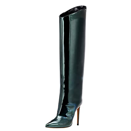 cc61b908103 SYYAN Women s Patent Leather Pointed Zipper High Heel Pump Knee Boots Red  Green