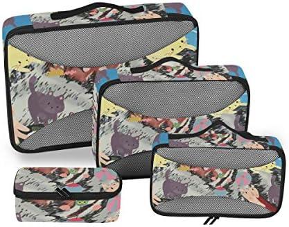 トラベル ポーチ 旅行用 収納ケース 4点セット トラベルポーチセット アレンジケース スーツケース整理 萌え かわいい 猫柄 ネコ 忍者 収納ポーチ 大容量 軽量 衣類 トイレタリーバッグ インナーバッグ
