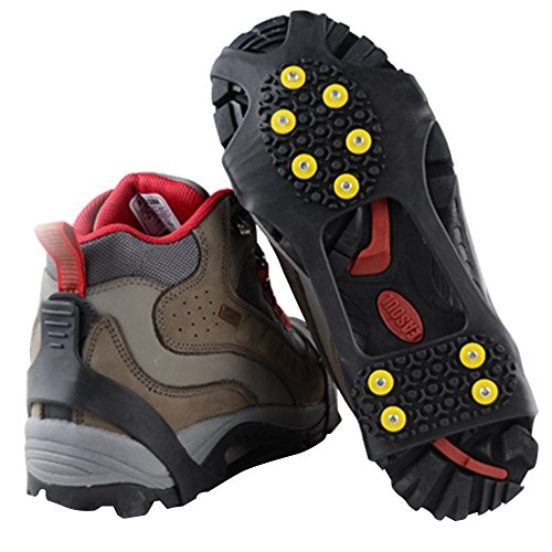 Traction Cleats, Snow Grips Ice Creepers Over Shoe Boot, Anti Slip 10 Studs Rubber Crampons for Footwear (Small, Black)