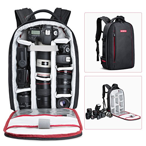 Beschoi DSLR Camera Backpack Waterproof Camera Bag for Sony Canon Nikon Olympus SLR/DSLR Camera, Lens and Accessories, Black (Large)