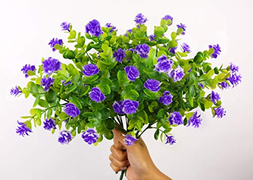 Artificial Greenery with Purple Roses Farmhouse Decorations Floral Centerpieces For Tables Faux Flowers Bulk 4 pcs. 13 inches Boxwood Shrubs