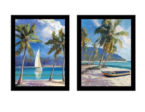 'ISLAND DREAM/ISLAND BREEZE' Tropical Island Beach Boat art 2 Piece FRAMED PRINT SET - N Mirkovich 15x19 ()