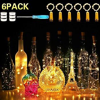 6 Pack 7.2ft 20 LED Wine Bottle Lights with Cork