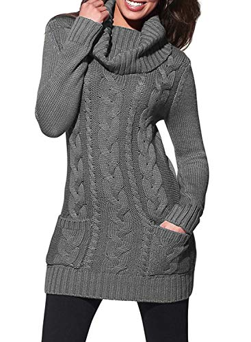 Sidefeel Women Cowl Neck Cable Knit Long Sleeve Slim Sweater Jumper Small Grey