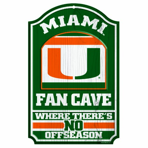 NCAA Miami Hurricanes Fan Cave Wood Sign, 11