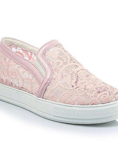 us11 Zq Cn44 Zapatos Rosa Creepers negro Uk Uk9 Gyht Mujer us11 De Eu43 Redonda Casual White Punta Exterior Pink Vestido Plataforma Mocasines Encaje CqrFCaxw