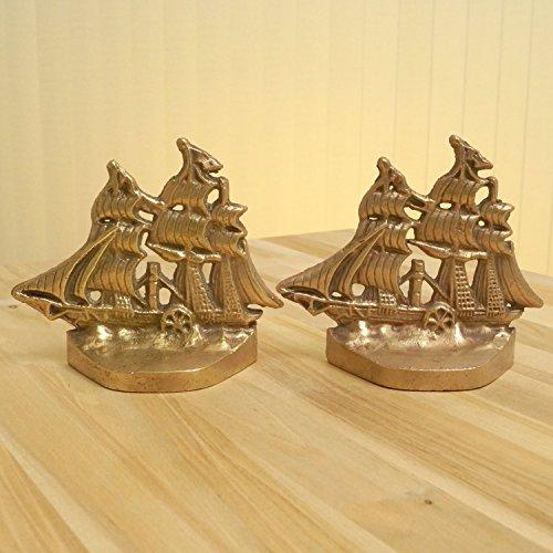 Ship / Sails boat Bookends / Door stoppers || Vintage Solid brass (Door Sailboat Stopper)
