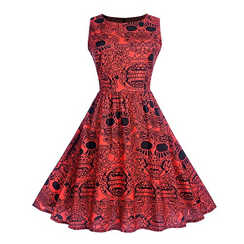 Clearance Sale! Wintialy Women Halloween Sleeveless Neck Evening Printing Party Prom Swing Dress (Johnny Dress Formal)
