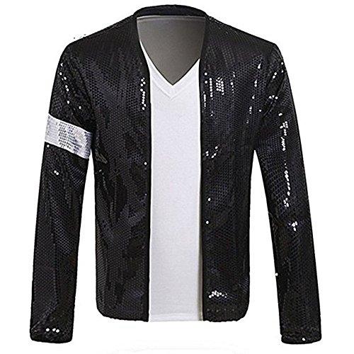 MJ Michael Jackson Jacket Costume Billie Jean Armband Sequin Jacket Glove Black (Jacket and Glove-XXL) by Thriller9