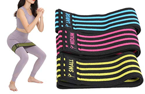 Resistance Hip Bands for Women - Set of 3 - Non-Slip Circle Loop Booty Band - Ideal Exercise Bands For Hips, Thighs, Legs, Butt, Booty, Squatting, Glutes Exercises - with Carry Bag (Set of 3)