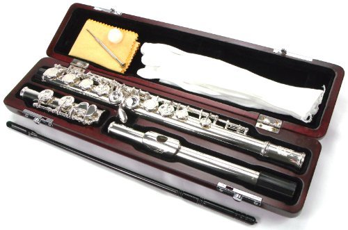 SOLID SILVER HEAD JOINT 16 KEYS CLOSED HOLE FLUTE WITH ITALIAN PADS & WOOD CASE - Solid Silver Flute