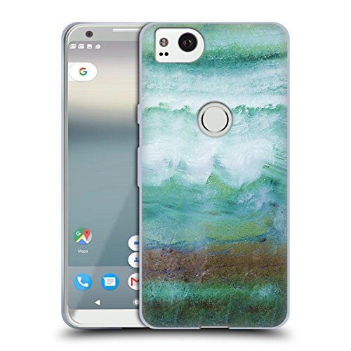 Official Monika Strigel Mint Agate Gemstone Soft Gel Case for Google Pixel 2 (Min Leather Stone)