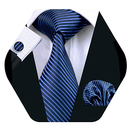 YOHOWA Mens Blue Navy Stripe Tie Pocket Square Silk Necktie Cufflinks Set
