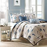 Madison Park Bayside Coverlet Set Blue King Coastal Print - Includes 1 Coverlet , 3 Decorative Pillows, 2 Shams