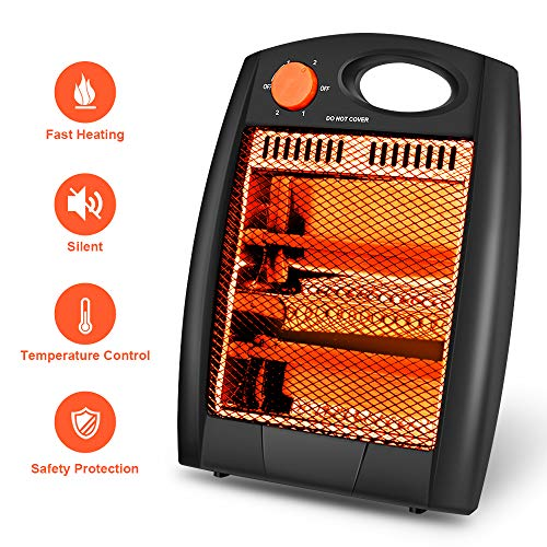 Portable Radiant Heater Portable Space Heater Quartz Infrared Heater 700W Adjustable Heater Energy Efficient Space Heater Instant Heater Overheat Tip-Over Protection