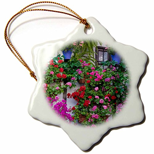 3dRose Danita Delimont - Flowers - Spain, Andalusia. Cordoba. Flowers during the Festival of the Patio. - 3 inch Snowflake Porcelain Ornament (orn_277892_1) by 3dRose