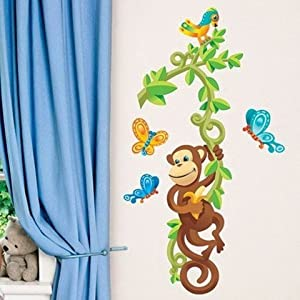 Good Main Street Wall Creations Jumbo Stickers  Monkey Tree Butterflies Bird  Jungle Part 2