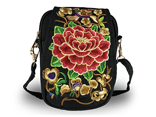 - Vintage Embroidered Mandala Lotus Flower Mini Crossbody Shoulder Bag Purse Travel Pouch Cell Phone (Red)