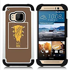 - GUITAR GOLDEN BROWN POSTER MUSIC ROCK - - Doble capa caja de la armadura Defender FOR HTC ONE M9 RetroCandy