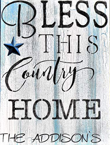 Bless This Country Home Personalized Hand Painted Canvas Painting, Custom Name Hand Made Sign, Your Name on Distressed Country Style Painting, White and Blue Crackle Painted Personalized Sign