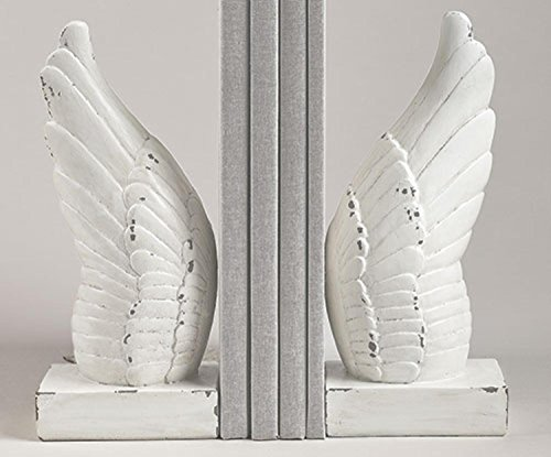 Set of 2 Wing and Prayer Distressed White Cherub Angel Wings Religious Bookends (Cherub Bookends)
