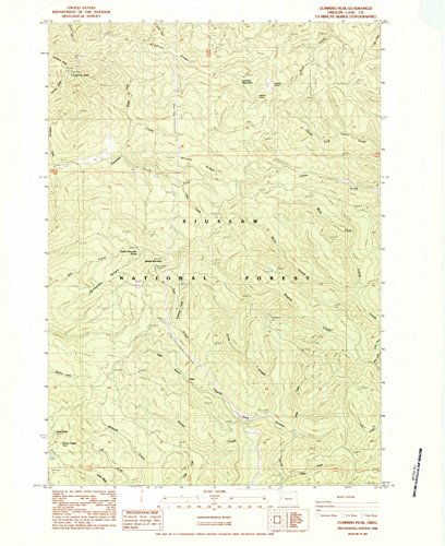 Oregon Maps | 1984 Cummins Peak, OR USGS Historical Topographic Map | Cartography Wall Art | 18in x 24in ()