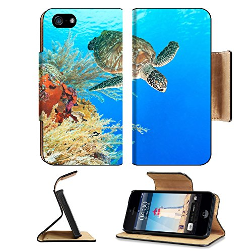 Liili Premium Apple iPhone 5 iphone 5S Flip Pu Leather Wallet Case iPhone5 IMAGE ID: 16466632 Turtle swimming underwater among the coral reef