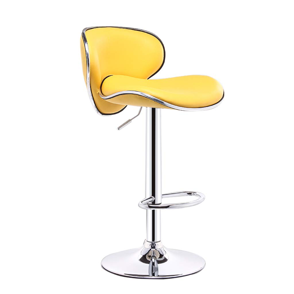 Yellow Modern Imitation Leather Bar Stool Metal Swivel Chair Bar Stool orange Kitchen Stool Breakfast Bar Chair Backrest Adjustable 60-80CM (color   orange)