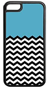 Blue Colorblocked Black and White Chevrons- Case for the APPLE iphone 4 4s ONLY-Soft Black Rubber Outer Case