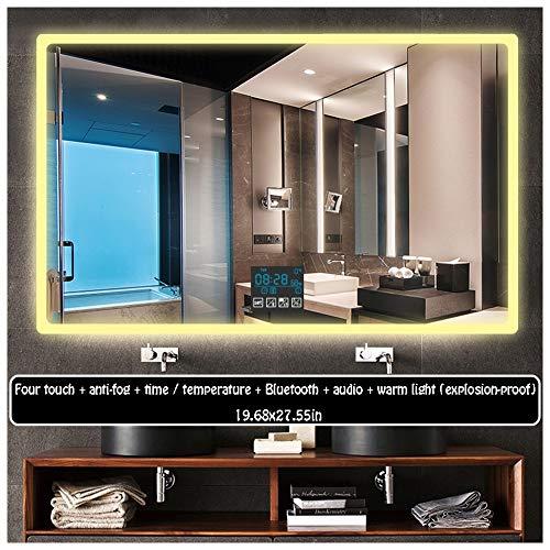 50 x 70cm Led Rectangular Mirror Illuminated LED Bathroom Mirror Light Sensor -