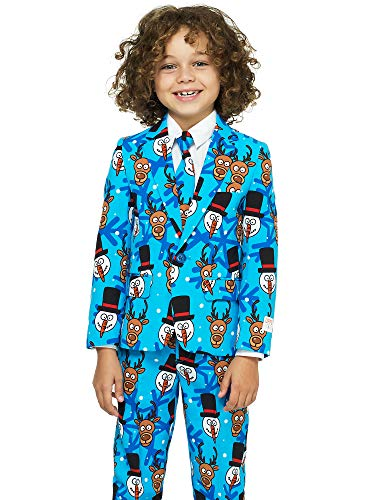 OppoSuits Christmas Suits for Boys in Different Prints Ugly Xmas Sweater Costumes Include Jacket Pants & Tie, Red, Size 8