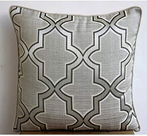 Luxury Gray Euro Pillow Covers 26×26 inch 65×65 cm , Cotton Euro Size Pillow Covers, Geometric, Pattern, Lattice, Trellis, Contemporary European Shams – Gray Trellis