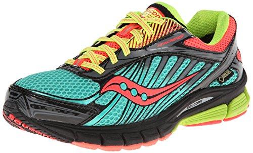 Saucony Women's Ride 6 GTX Running Shoe,Green/Pink/Citron,6.5 M US