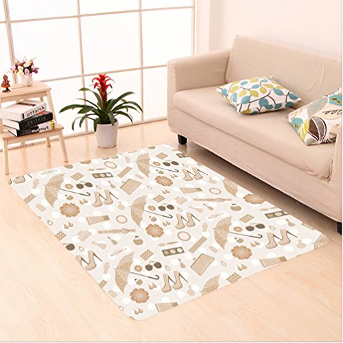 8' Wool Purse (Nalahome Custom carpet c Vintage Styled Graphic with Fancy Polky Dot Umbrellas Heels Purses Trendy Art Home Beige Brown area rugs for Living Dining Room Bedroom Hallway Office Carpet (2' X 8'))