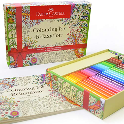 Faber Castell Coloring for Relaxation Gift Set - 60 Connector Markers & Coloring Book - Adult Coloring for Relaxation