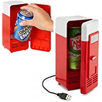 Mini USB Fridge Cooler Beverage Drink Cans Cooler/warmer Refrigerator for Laptop/pc (Red)