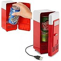 Mini USB Fridge Cooler Beverage Drink Cans Cooler/warmer Refrigerator for Laptop/pc (Red)
