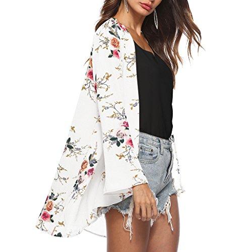 Surimpression À Moderne Fleur Sharplace Longues Manches Mousseline Couverture Blouse Floral Mode Femmes Xl Casual En Boho Châle Soie Femme Imprimé De Blanc 67n4T6wq