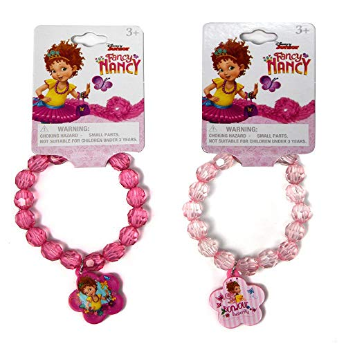 Disney Fancy Nancy Elastic Faceted Beaded Jewelry Bracelets with Plastic Charm Bracelet for Pretend Play Fashion Accessory Novelty Party Favors Bag Fillers Little Girls Dress-Up (2 Items)