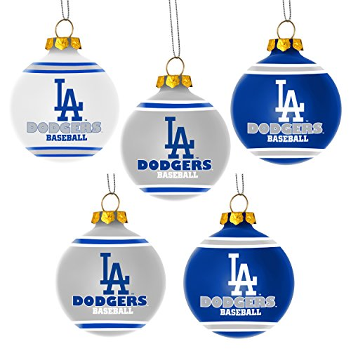 Forever Collectibles MLB Los Angeles Dodgers Shatterproof Ball Ornament (Pack of 5), Blue