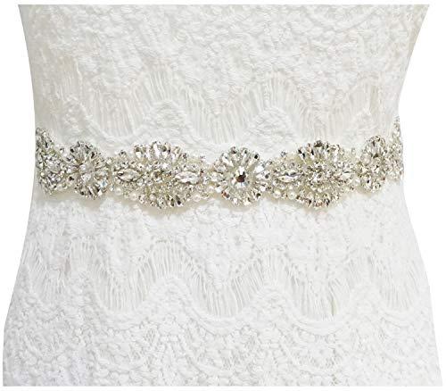 Lovful Womens Wedding Party Prom Evening Dresses Rhinestone Beads Sash Belt,Ivory Sash-4,One Size