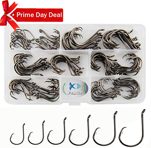JSHANMEI 150pcs/box Circle Hooks 2X Strong Customized Offset Sport Circle Hooks Black High Carbon Steel Octopus Fishing Hooks-Size:#1-5/0 (Vmc Sure Set)