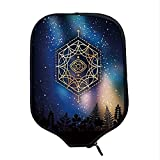 YOLIYANA Sacred Geometrty Decor Durable Racket Cover,Hexagon Form with Eye Icon in Centre on Starry Night Mystic Image for Sandbeach,One Size