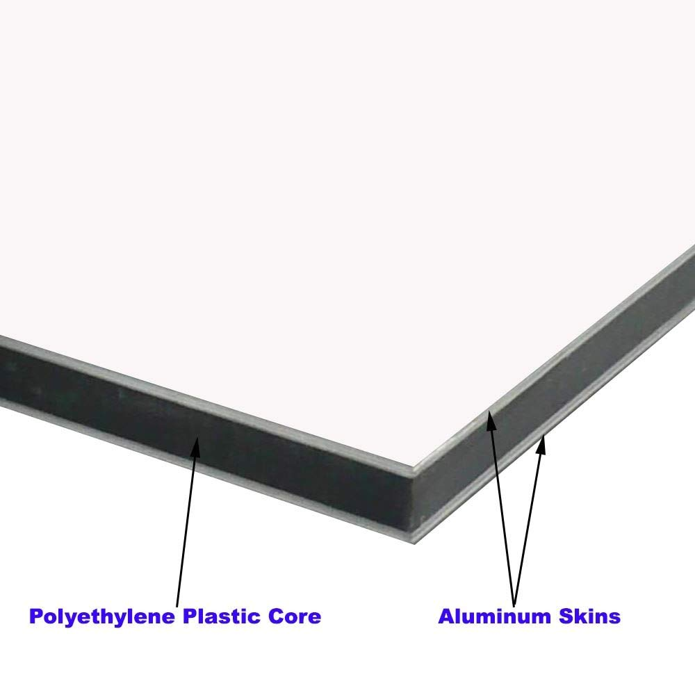 0.236 x 12 x 24 Online Metal Supply Aluminum Composite Sheet 6mm Silver Brushed Aluminum//White