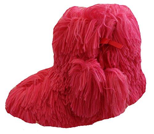 Damen Rote künstliches pelz Cream Gestrickt Billig Weihnachtsgeschenk Hausschuhe Stiefel Hausschuhe Größe UK 3 - 8