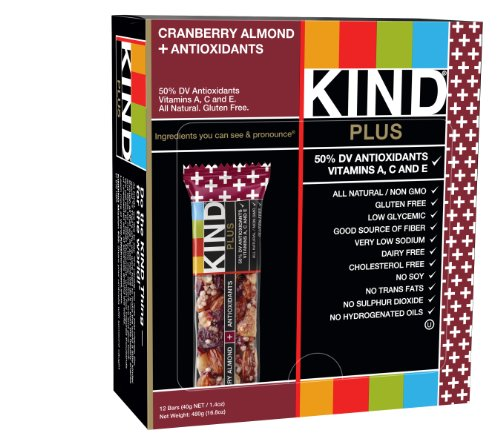 KIND Bars, Cranberry Almond + Antioxidants with Macadamia Nuts, Gluten Free, Low Sugar, 1.4oz, 12 Count - Bar Cranberry Almond