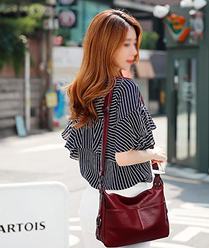 Small Women Crossbody Shoulder Bag Bags Bags handle Hobo Leisure Wild Lady Top Burgundy For Bags wqgwO7