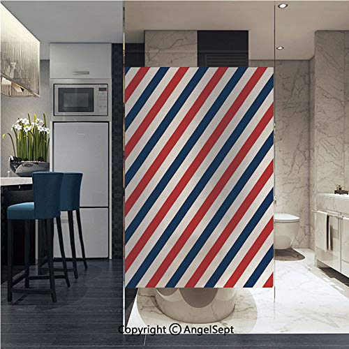 AngelSept Window Film Door Sticker Glass Film Vintage Barber Pole Helix of Colored Stripes Medieval Contrast Design Decorative Both Suitable for Home and Office, 22.8 x 35.4 inch,Blue Red ()